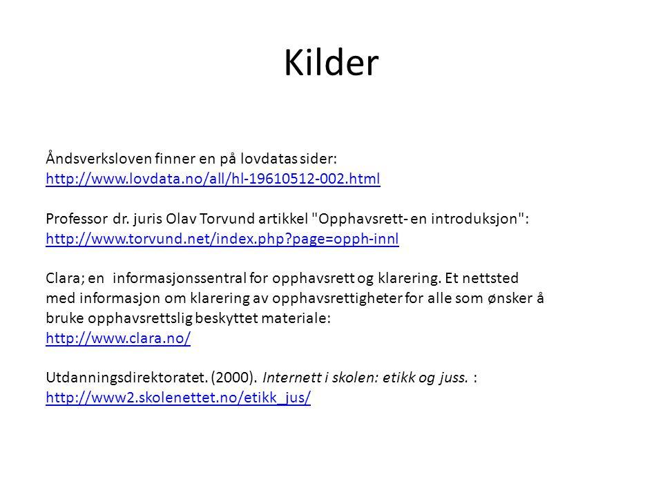Kilder Åndsverksloven finner en på lovdatas sider: http://www.lovdata.no/all/hl-19610512-002.html http://www.lovdata.no/all/hl-19610512-002.html Profe