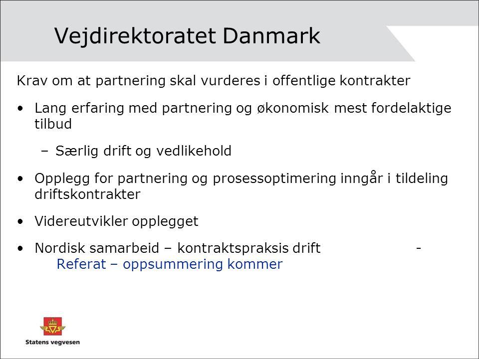 Vejdirektoratet Danmark Krav om at partnering skal vurderes i offentlige kontrakter Lang erfaring med partnering og økonomisk mest fordelaktige tilbud