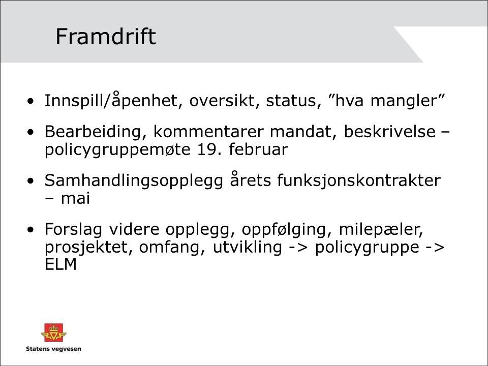 Framdrift Innspill/åpenhet, oversikt, status, hva mangler Bearbeiding, kommentarer mandat, beskrivelse – policygruppemøte 19.