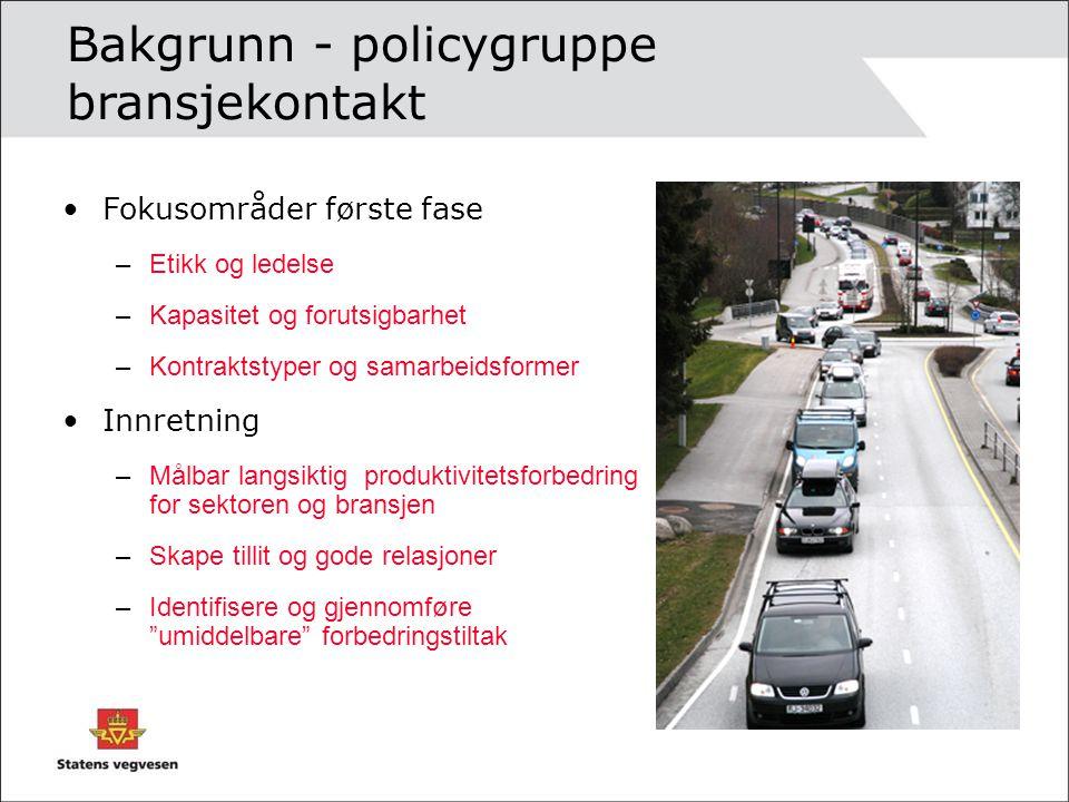 Bakgrunn - policygruppe bransjekontakt Fokusområder første fase –Etikk og ledelse –Kapasitet og forutsigbarhet –Kontraktstyper og samarbeidsformer Inn