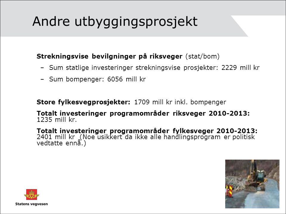 Andre utbyggingsprosjekt Strekningsvise bevilgninger på riksveger (stat/bom) –Sum statlige investeringer strekningsvise prosjekter: 2229 mill kr –Sum