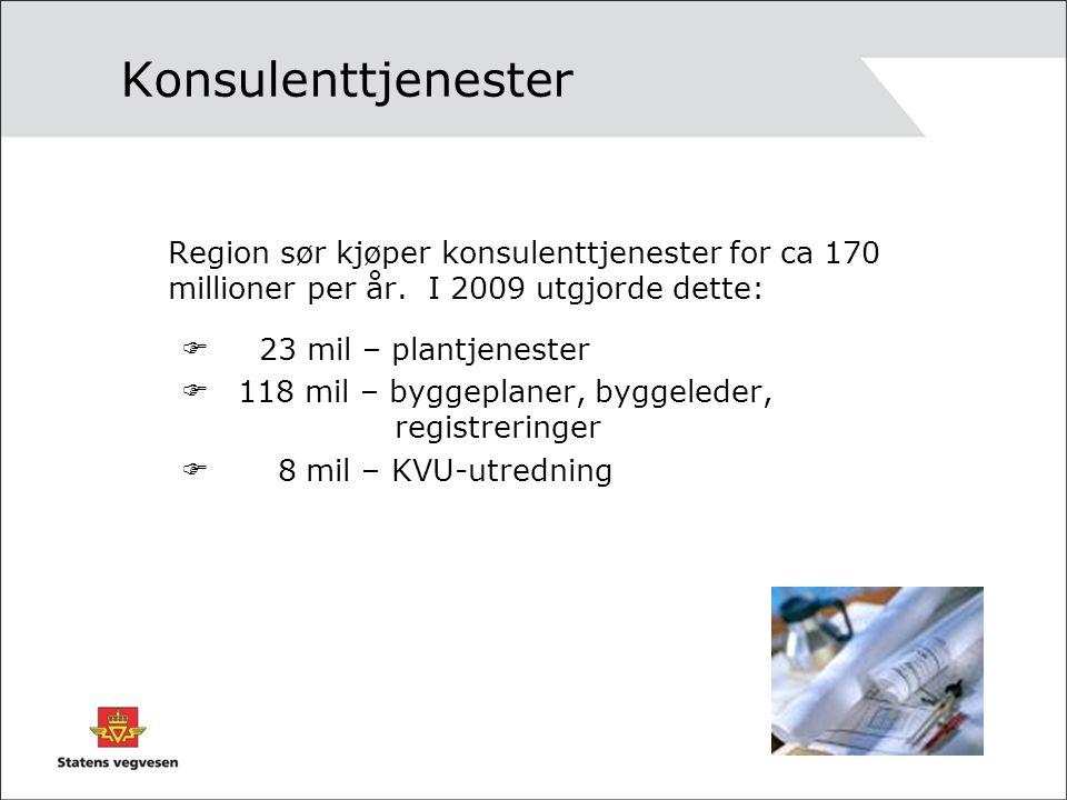 Konsulenttjenester Region sør kjøper konsulenttjenester for ca 170 millioner per år. I 2009 utgjorde dette:  23 mil – plantjenester  118 mil – bygge