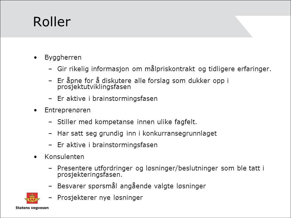 Roller Byggherren –Gir rikelig informasjon om målpriskontrakt og tidligere erfaringer. –Er åpne for å diskutere alle forslag som dukker opp i prosjekt