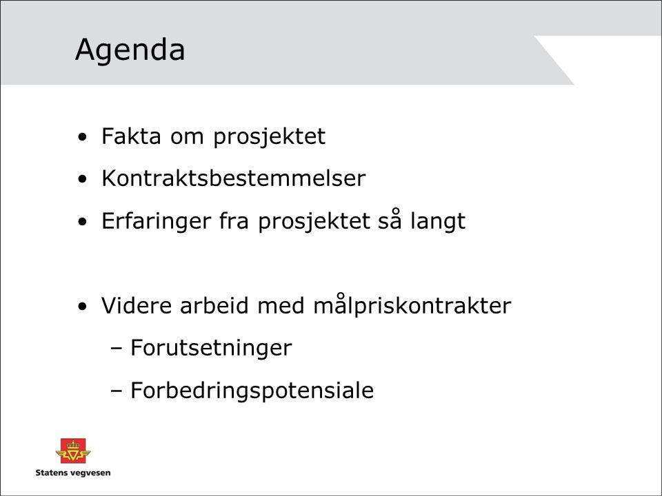 Agenda Fakta om prosjektet Kontraktsbestemmelser Erfaringer fra prosjektet så langt Videre arbeid med målpriskontrakter –Forutsetninger –Forbedringspo