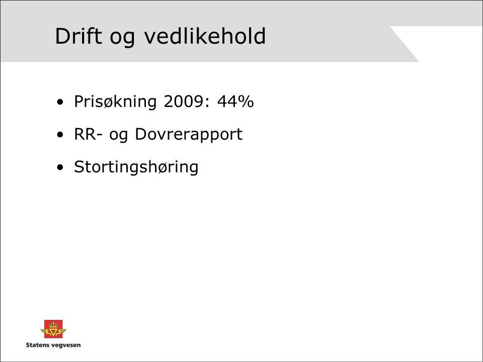 Drift og vedlikehold Prisøkning 2009: 44% RR- og Dovrerapport Stortingshøring