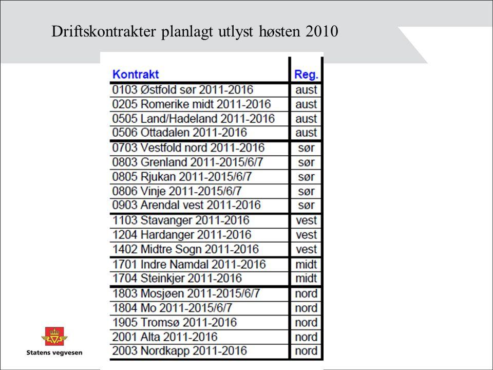 Driftskontrakter planlagt utlyst høsten 2010