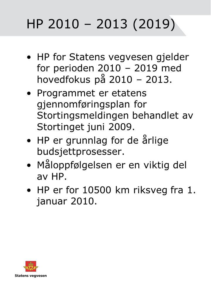 HP 2010 – 2013 (2019) HP for Statens vegvesen gjelder for perioden 2010 – 2019 med hovedfokus på 2010 – 2013.