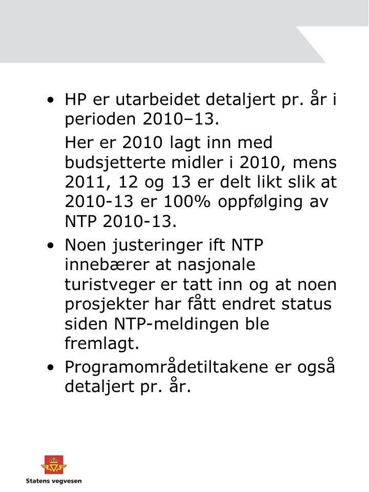 HP er utarbeidet detaljert pr. år i perioden 2010–13.