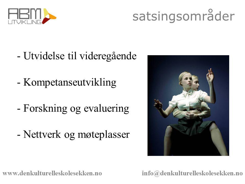 www.denkulturelleskolesekken.no info@denkulturelleskolesekken.no satsingsområder - Utvidelse til videregående - Kompetanseutvikling - Forskning og evaluering - Nettverk og møteplasser
