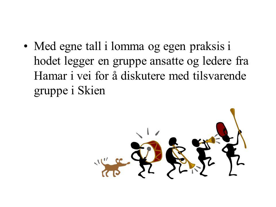 Med egne tall i lomma og egen praksis i hodet legger en gruppe ansatte og ledere fra Hamar i vei for å diskutere med tilsvarende gruppe i Skien
