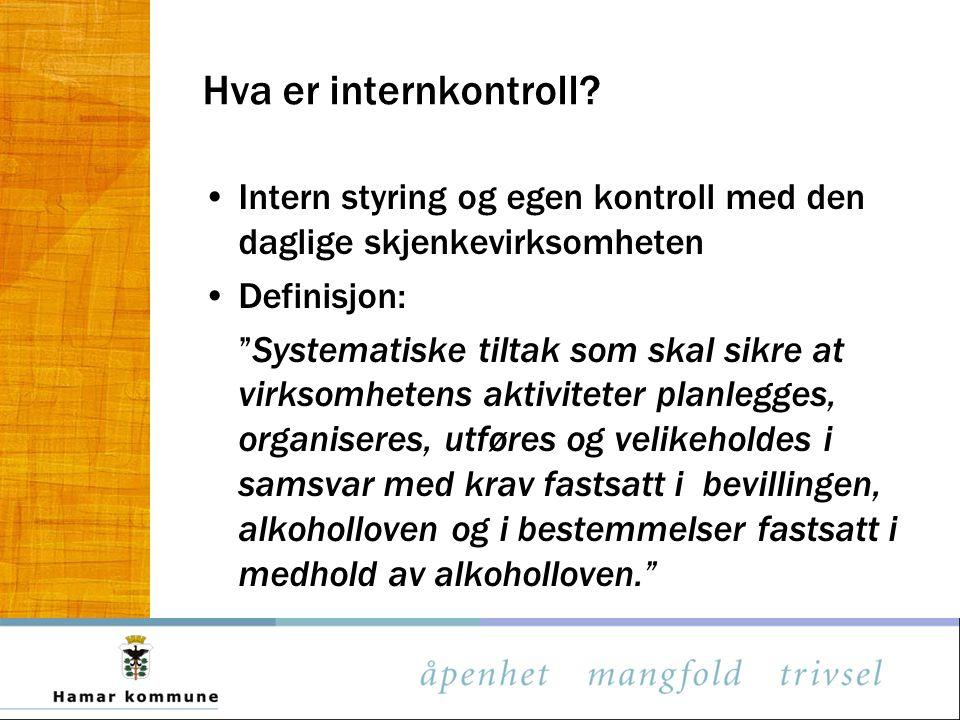"""Hva er internkontroll? Intern styring og egen kontroll med den daglige skjenkevirksomheten Definisjon: """"Systematiske tiltak som skal sikre at virksomh"""