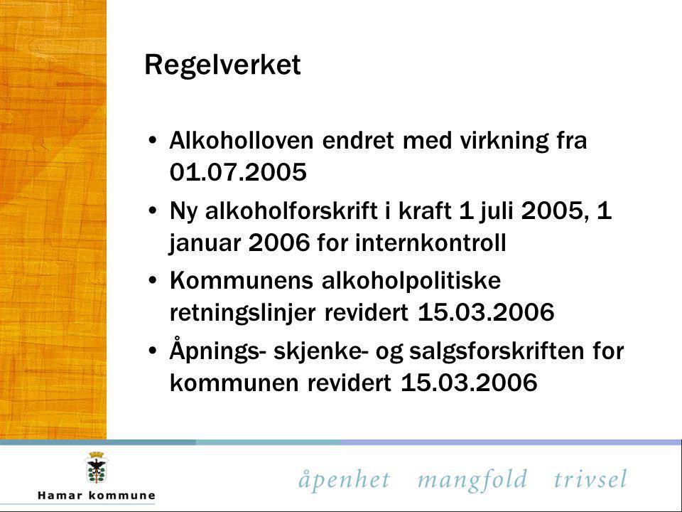 Regelverket Alkoholloven endret med virkning fra 01.07.2005 Ny alkoholforskrift i kraft 1 juli 2005, 1 januar 2006 for internkontroll Kommunens alkoho