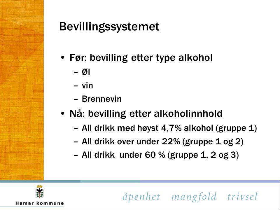 Bevillingssystemet Før: bevilling etter type alkohol –Øl –vin –Brennevin Nå: bevilling etter alkoholinnhold –All drikk med høyst 4,7% alkohol (gruppe