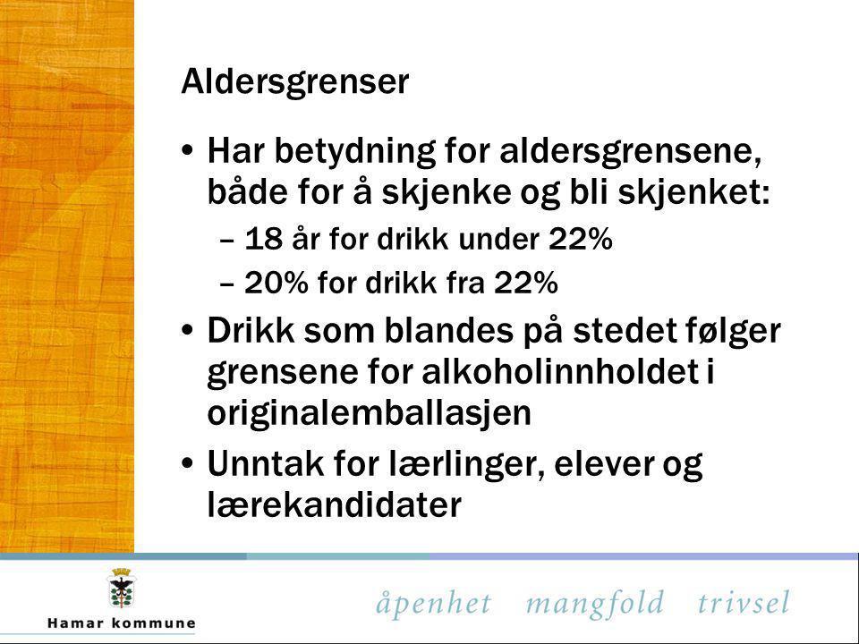 Aldersgrenser Har betydning for aldersgrensene, både for å skjenke og bli skjenket: –18 år for drikk under 22% –20% for drikk fra 22% Drikk som blande