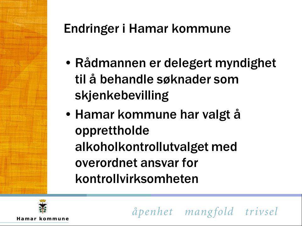 Endringer i Hamar kommune Rådmannen er delegert myndighet til å behandle søknader som skjenkebevilling Hamar kommune har valgt å opprettholde alkoholk