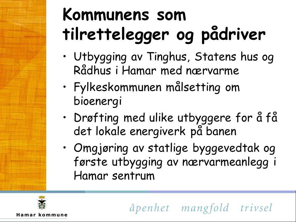 Kommunens som eier Hamarregionen fjernvarme (HRF) etablert år 2000 (HRE/Eidsiva, Biovarme og HIAS)