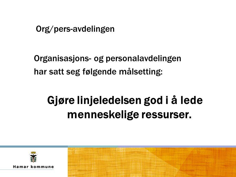Org/pers-avdelingen Organisasjons- og personalavdelingen har satt seg følgende målsetting: Gjøre linjeledelsen god i å lede menneskelige ressurser.