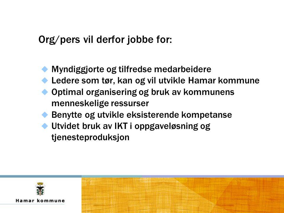 Org/pers vil derfor jobbe for:  Myndiggjorte og tilfredse medarbeidere  Ledere som tør, kan og vil utvikle Hamar kommune  Optimal organisering og bruk av kommunens menneskelige ressurser  Benytte og utvikle eksisterende kompetanse  Utvidet bruk av IKT i oppgaveløsning og tjenesteproduksjon