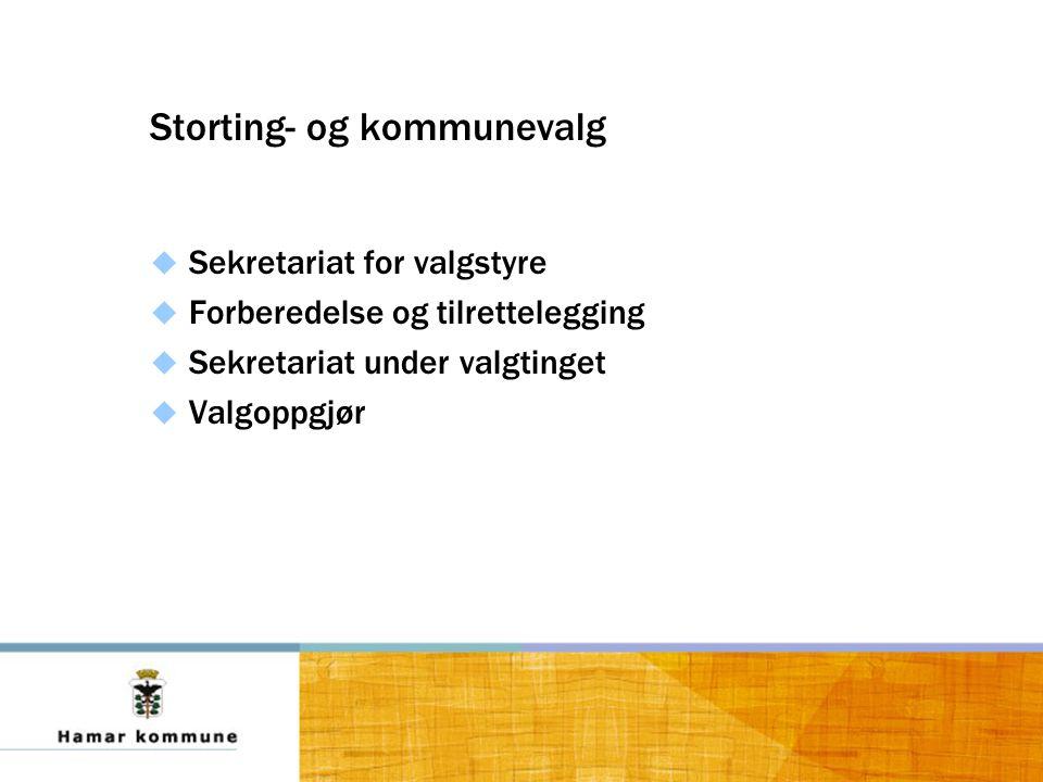 Storting- og kommunevalg  Sekretariat for valgstyre  Forberedelse og tilrettelegging  Sekretariat under valgtinget  Valgoppgjør