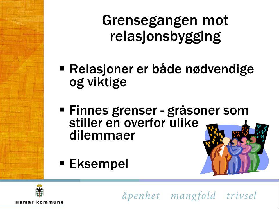 Grensegangen mot relasjonsbygging  Relasjoner er både nødvendige og viktige  Finnes grenser - gråsoner som stiller en overfor ulike dilemmaer  Eksempel