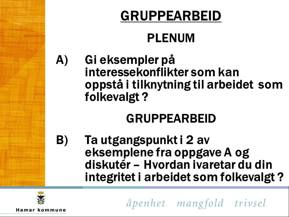 GRUPPEARBEID PLENUM A)Gi eksempler på interessekonflikter som kan oppstå i tilknytning til arbeidet som folkevalgt .