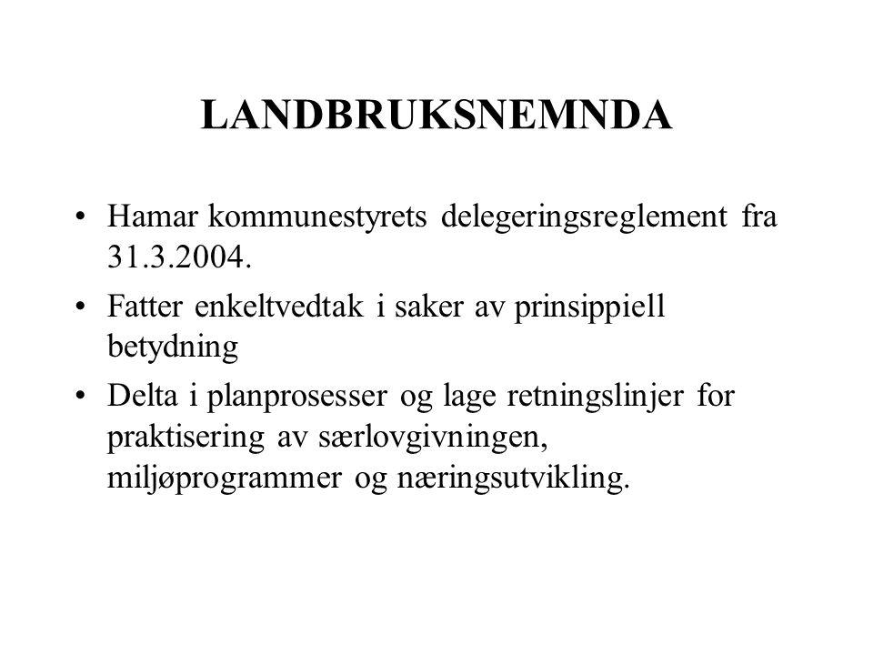 LANDBRUKSNEMNDA Hamar kommunestyrets delegeringsreglement fra 31.3.2004.