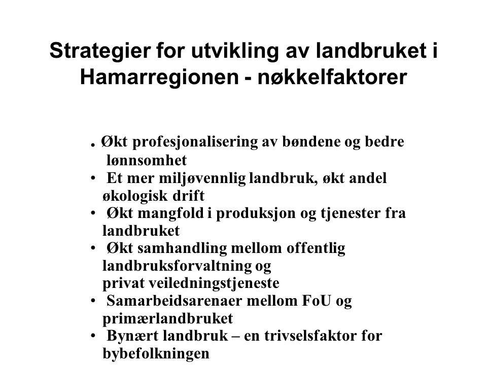 Strategier for utvikling av landbruket i Hamarregionen - nøkkelfaktorer.