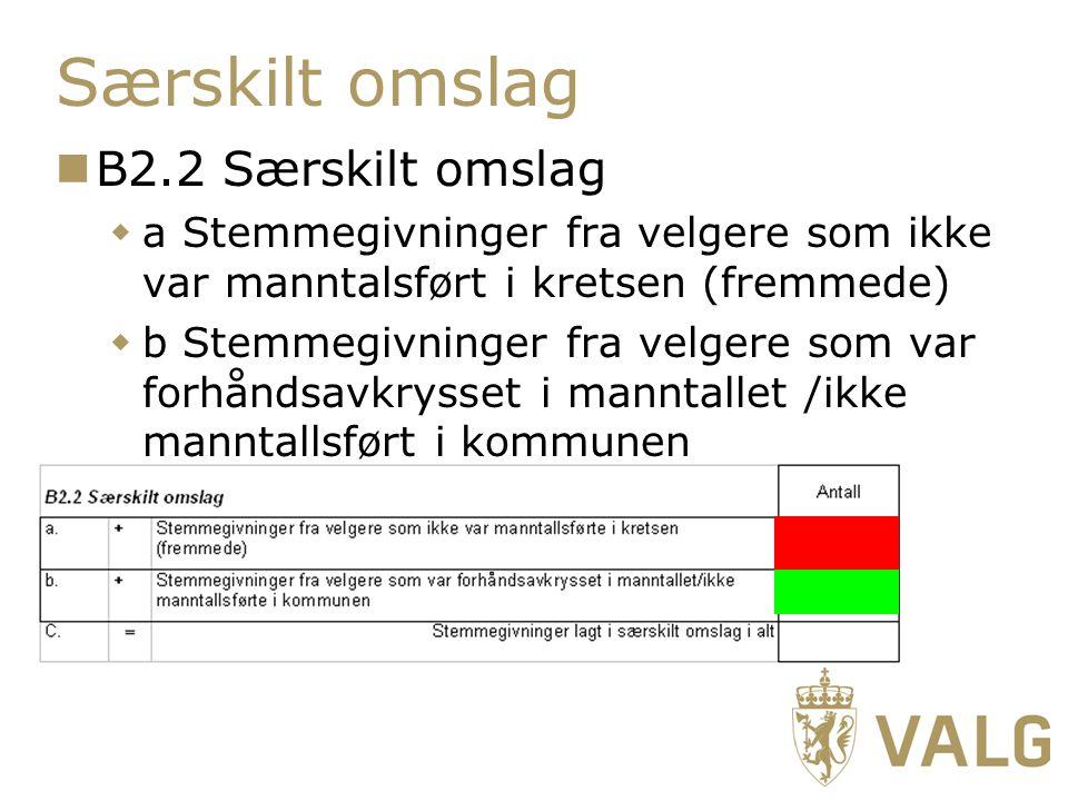 Særskilt omslag B2.2 Særskilt omslag  a Stemmegivninger fra velgere som ikke var manntalsført i kretsen (fremmede)  b Stemmegivninger fra velgere som var forhåndsavkrysset i manntallet /ikke manntallsført i kommunen