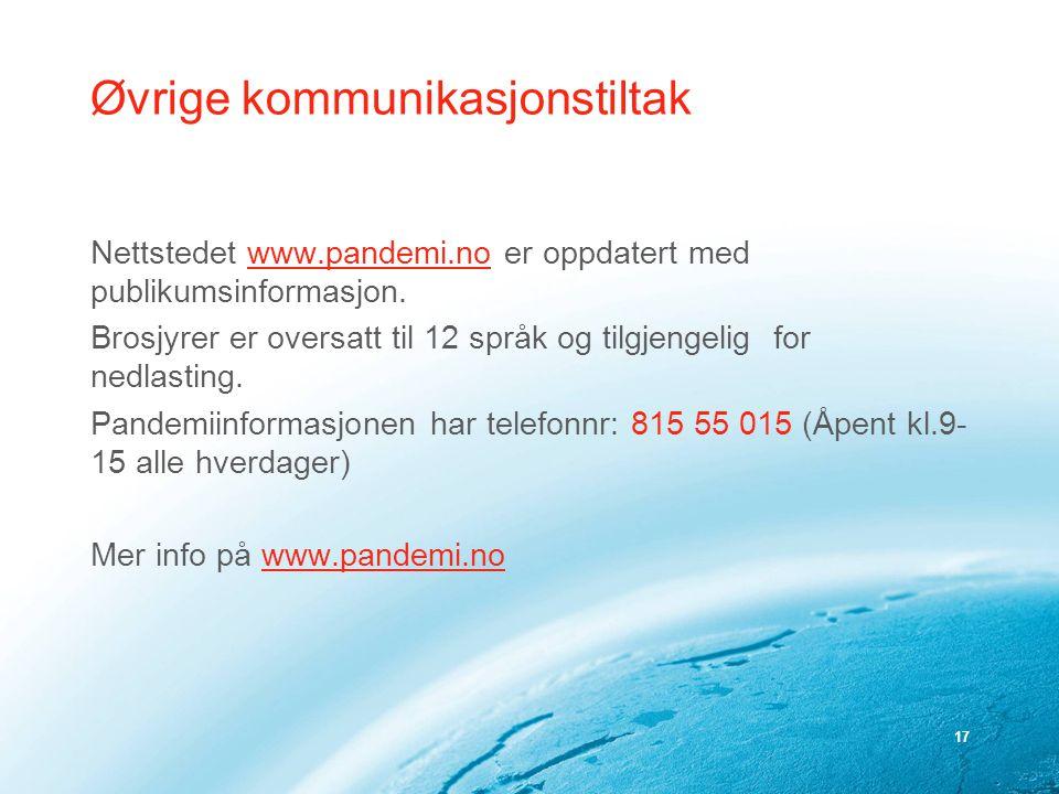 17 Øvrige kommunikasjonstiltak Nettstedet www.pandemi.no er oppdatert med publikumsinformasjon.www.pandemi.no Brosjyrer er oversatt til 12 språk og ti