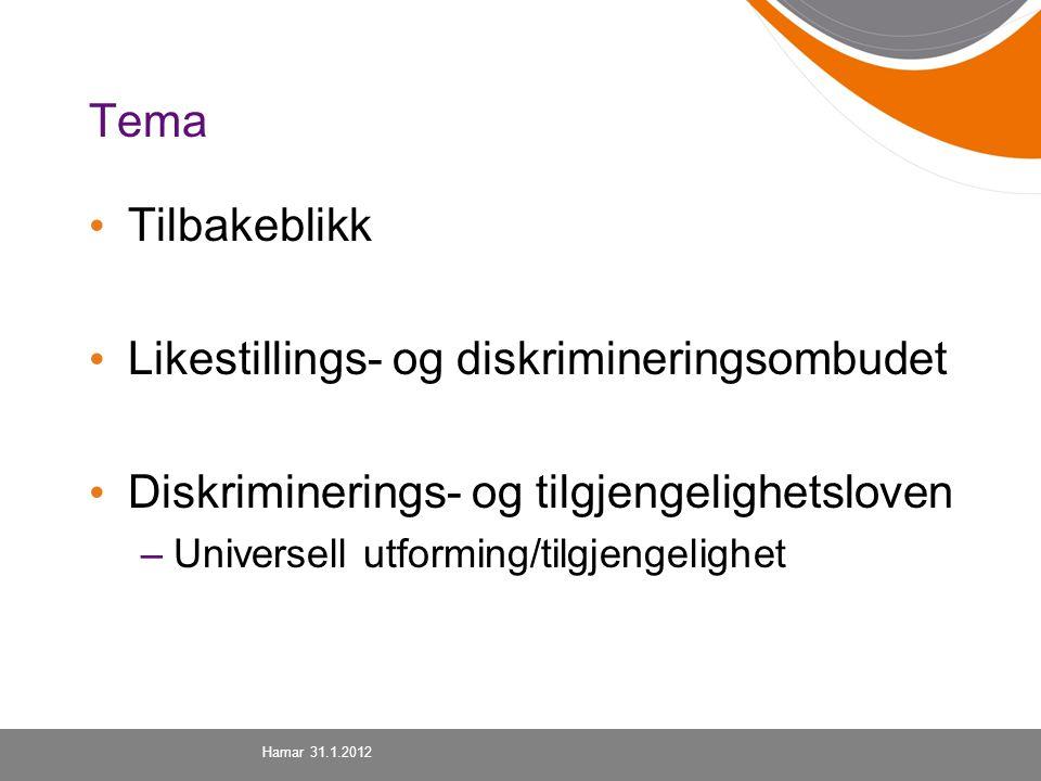 Tema Tilbakeblikk Likestillings- og diskrimineringsombudet Diskriminerings- og tilgjengelighetsloven –Universell utforming/tilgjengelighet Hamar 31.1.