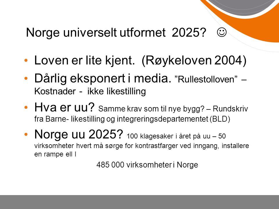 """Norge universelt utformet 2025? Loven er lite kjent. (Røykeloven 2004) Dårlig eksponert i media. """"Rullestolloven"""" – Kostnader - ikke likestilling Hva"""
