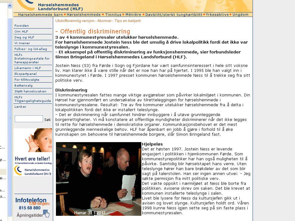 Likestillings- og diskrimineringsombudet Hamar 31.1.2012