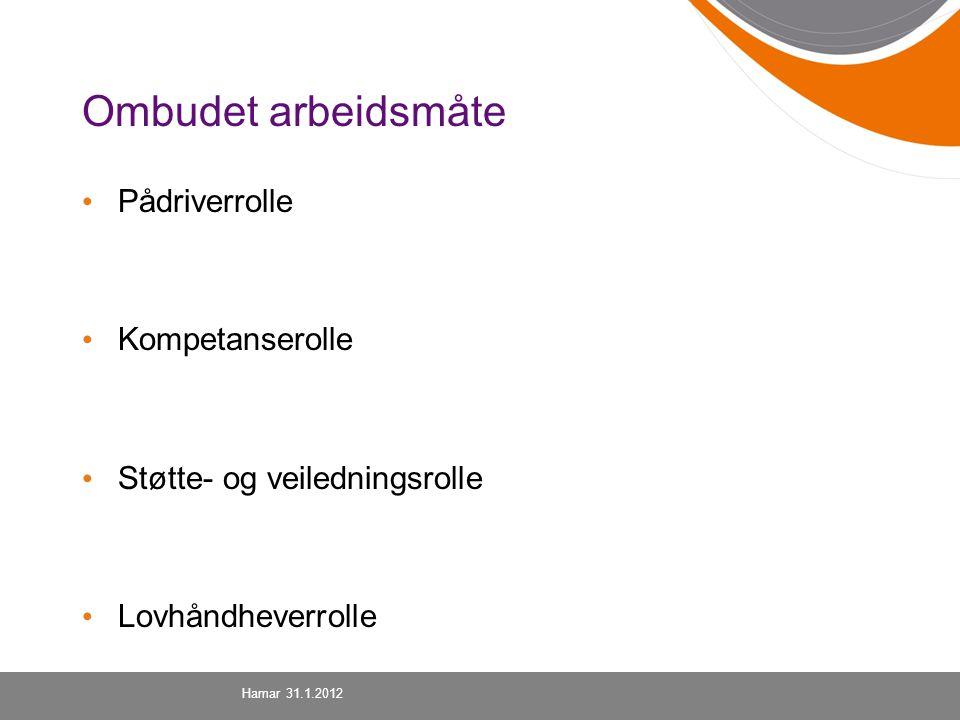 Ombudet arbeidsmåte Pådriverrolle Kompetanserolle Støtte- og veiledningsrolle Lovhåndheverrolle Hamar 31.1.2012