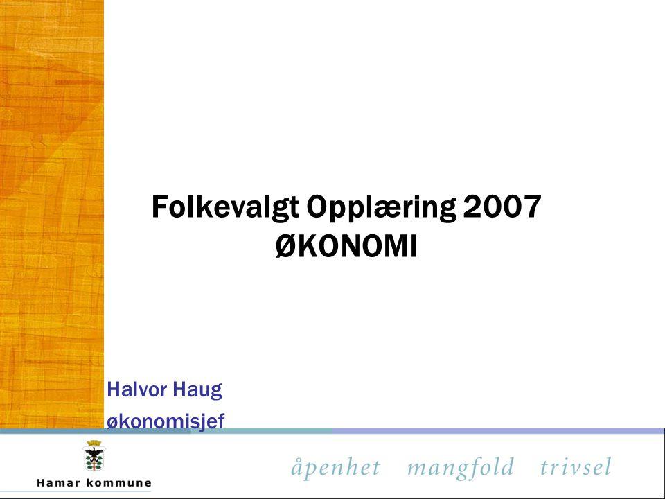Folkevalgt Opplæring 2007 ØKONOMI Halvor Haug økonomisjef