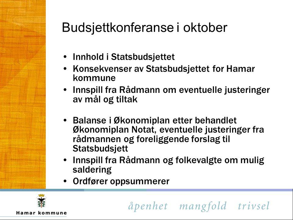Budsjettkonferanse i oktober Innhold i Statsbudsjettet Konsekvenser av Statsbudsjettet for Hamar kommune Innspill fra Rådmann om eventuelle justeringe