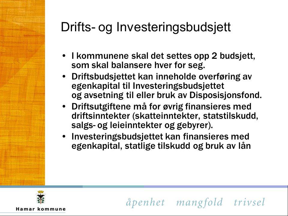 Drifts- og Investeringsbudsjett I kommunene skal det settes opp 2 budsjett, som skal balansere hver for seg. Driftsbudsjettet kan inneholde overføring