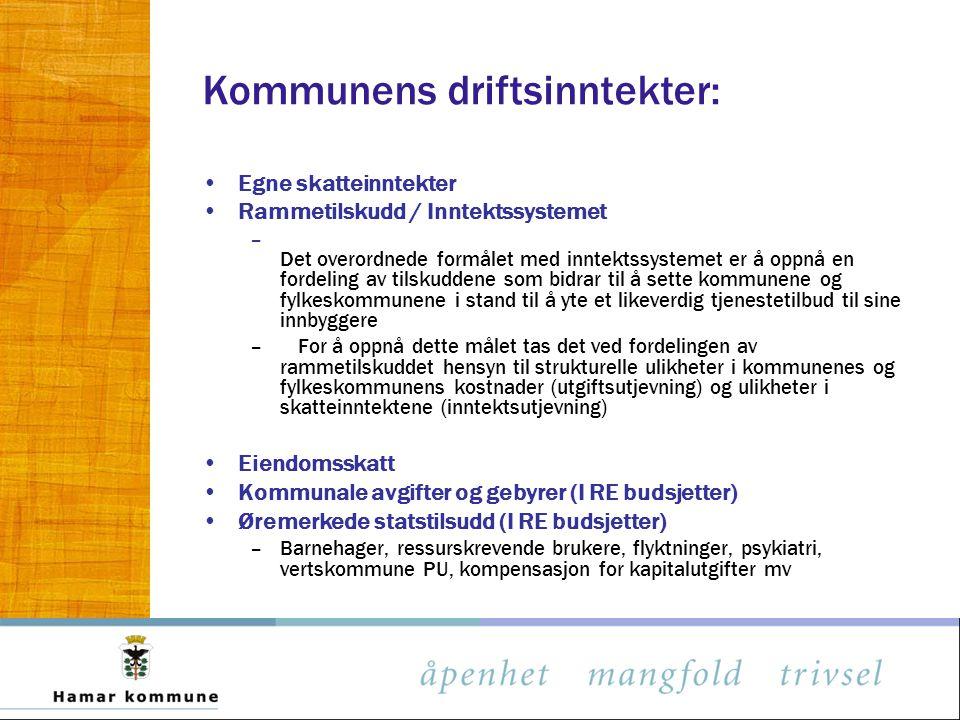 Kommunens driftsinntekter: Egne skatteinntekter Rammetilskudd / Inntektssystemet – Det overordnede formålet med inntektssystemet er å oppnå en fordeli