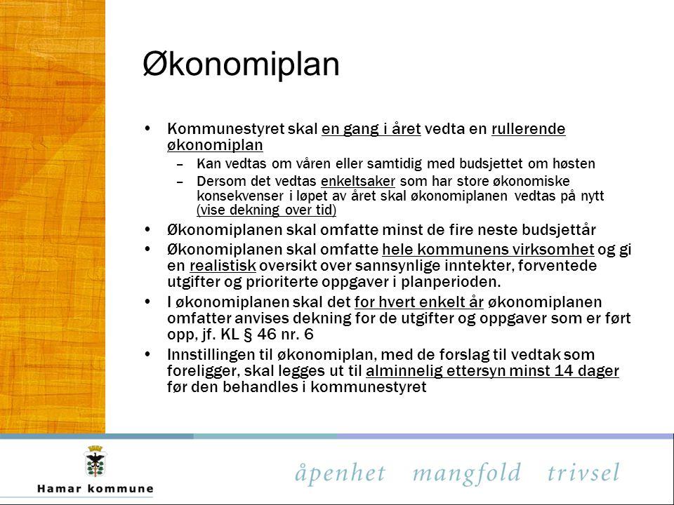 Økonomiplan Kommunestyret skal en gang i året vedta en rullerende økonomiplan –Kan vedtas om våren eller samtidig med budsjettet om høsten –Dersom det