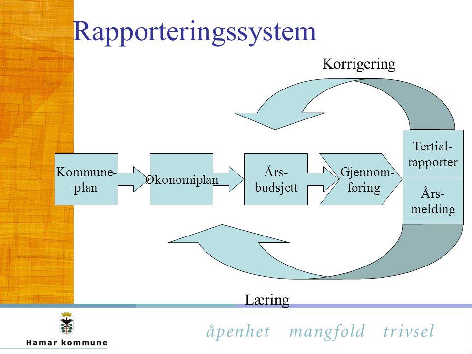 Kommune- plan Økonomiplan Års- budsjett Tertial- rapporter Års- melding Korrigering Læring Rapporteringssystem Gjennom- føring