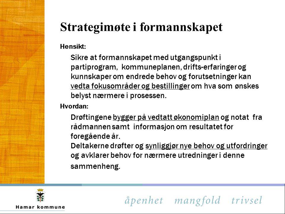 Strategimøte i formannskapet Hensikt: Sikre at formannskapet med utgangspunkt i partiprogram, kommuneplanen, drifts-erfaringer og kunnskaper om endred
