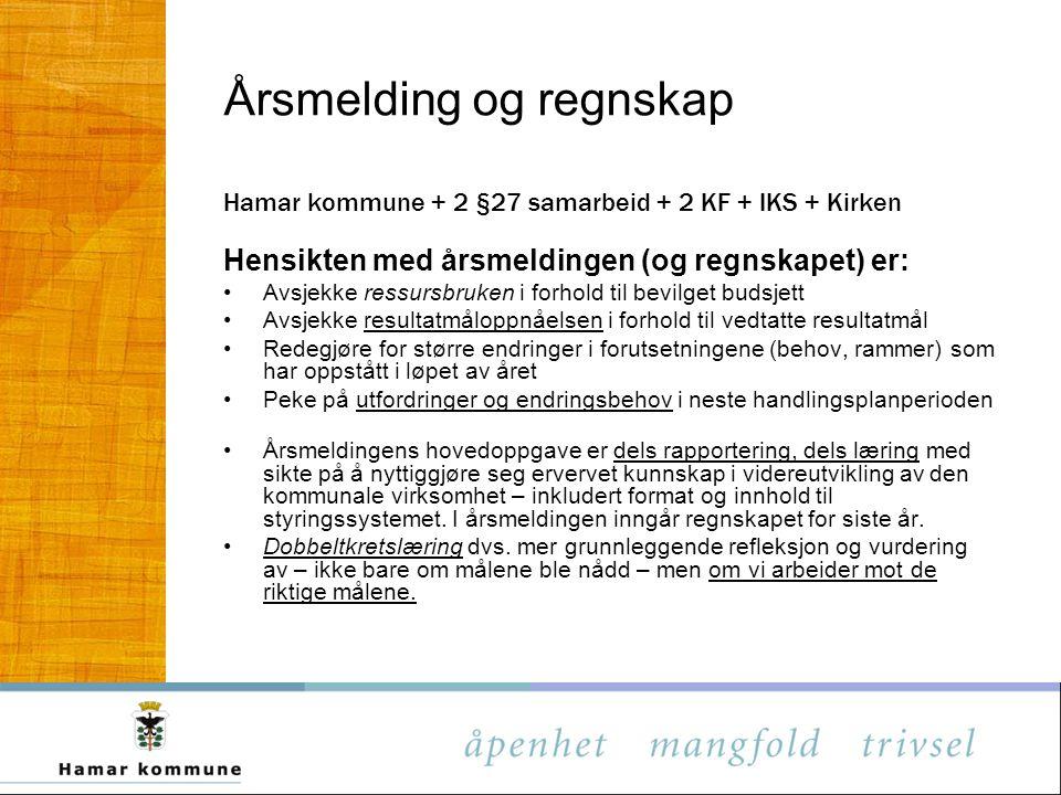 Årsmelding og regnskap Hamar kommune + 2 §27 samarbeid + 2 KF + IKS + Kirken Hensikten med årsmeldingen (og regnskapet) er: Avsjekke ressursbruken i f