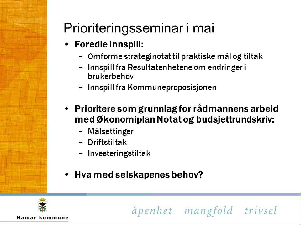 Prioriteringsseminar i mai Foredle innspill: –Omforme strateginotat til praktiske mål og tiltak –Innspill fra Resultatenhetene om endringer i brukerbe