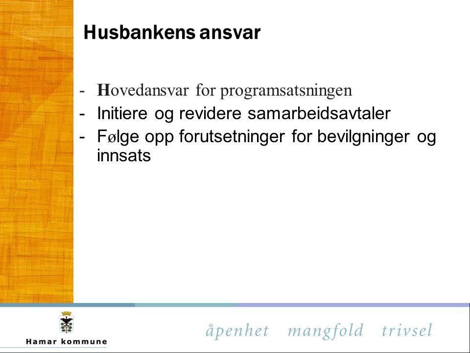 Husbankens ansvar -Hovedansvar for programsatsningen - Initiere og revidere samarbeidsavtaler - F ø lge opp forutsetninger for bevilgninger og innsats