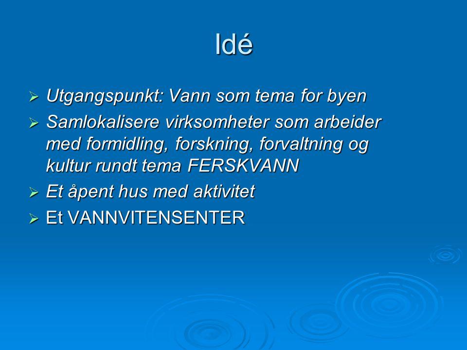 Idé  Utgangspunkt: Vann som tema for byen  Samlokalisere virksomheter som arbeider med formidling, forskning, forvaltning og kultur rundt tema FERSK