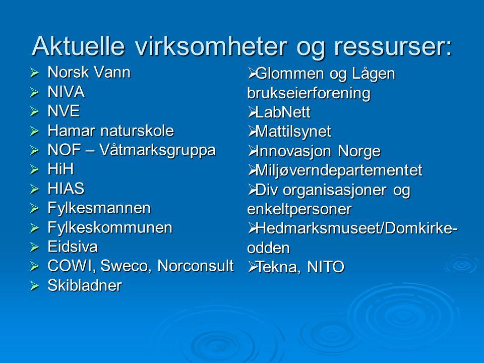 Aktuelle virksomheter og ressurser:  Norsk Vann  NIVA  NVE  Hamar naturskole  NOF – Våtmarksgruppa  HiH  HIAS  Fylkesmannen  Fylkeskommunen 