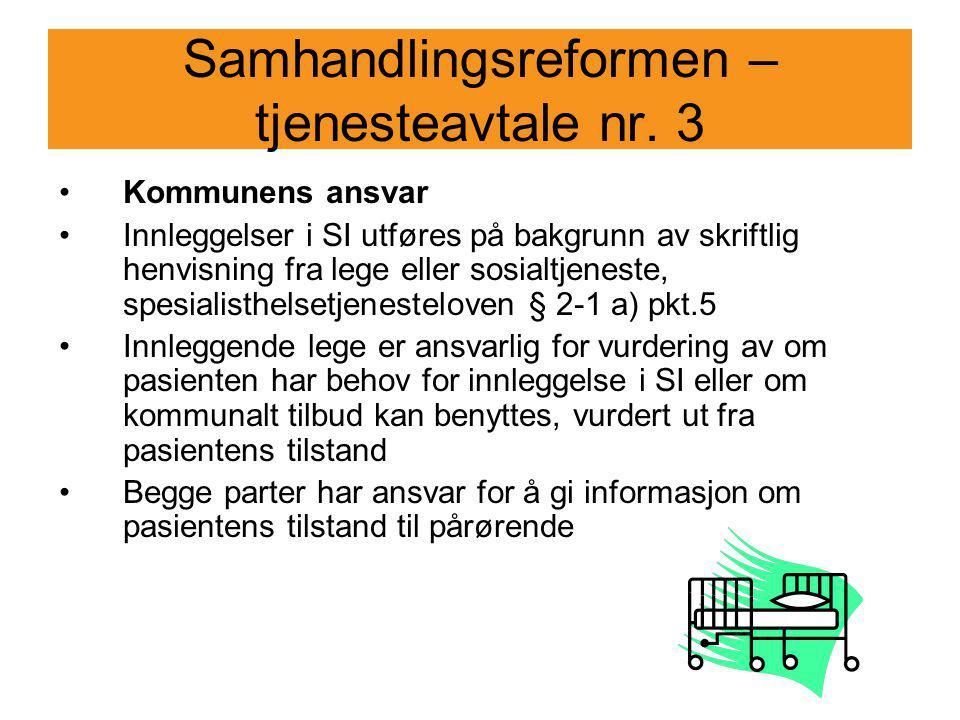 Samhandlingsreformen – tjenesteavtale nr. 3 Kommunens ansvar Innleggelser i SI utføres på bakgrunn av skriftlig henvisning fra lege eller sosialtjenes