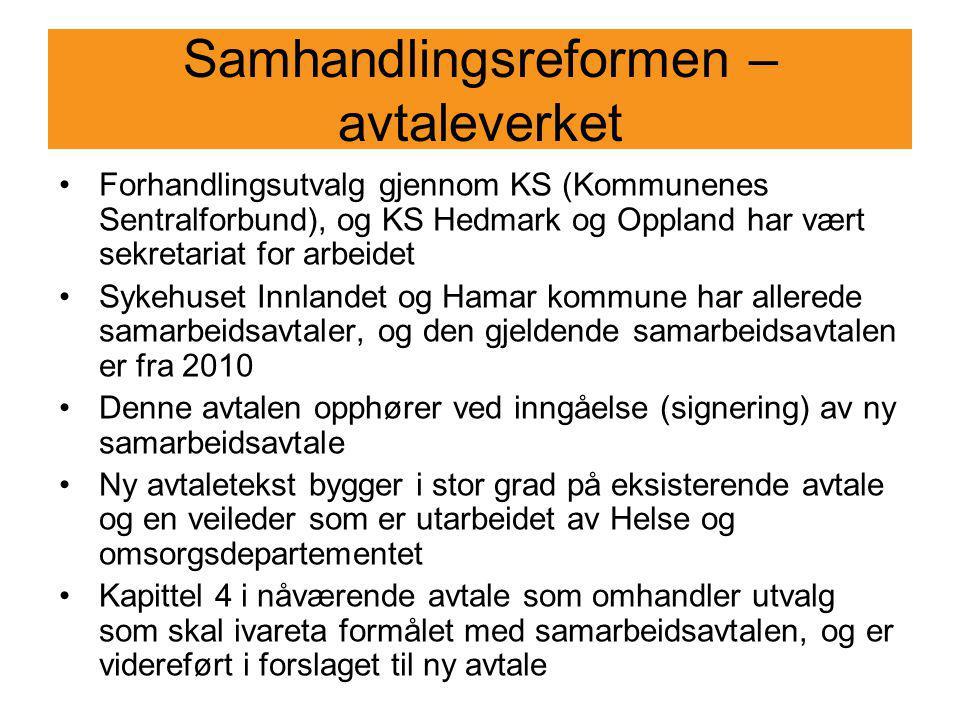Samhandlingsreformen – avtaleverket Forhandlingsutvalg gjennom KS (Kommunenes Sentralforbund), og KS Hedmark og Oppland har vært sekretariat for arbei