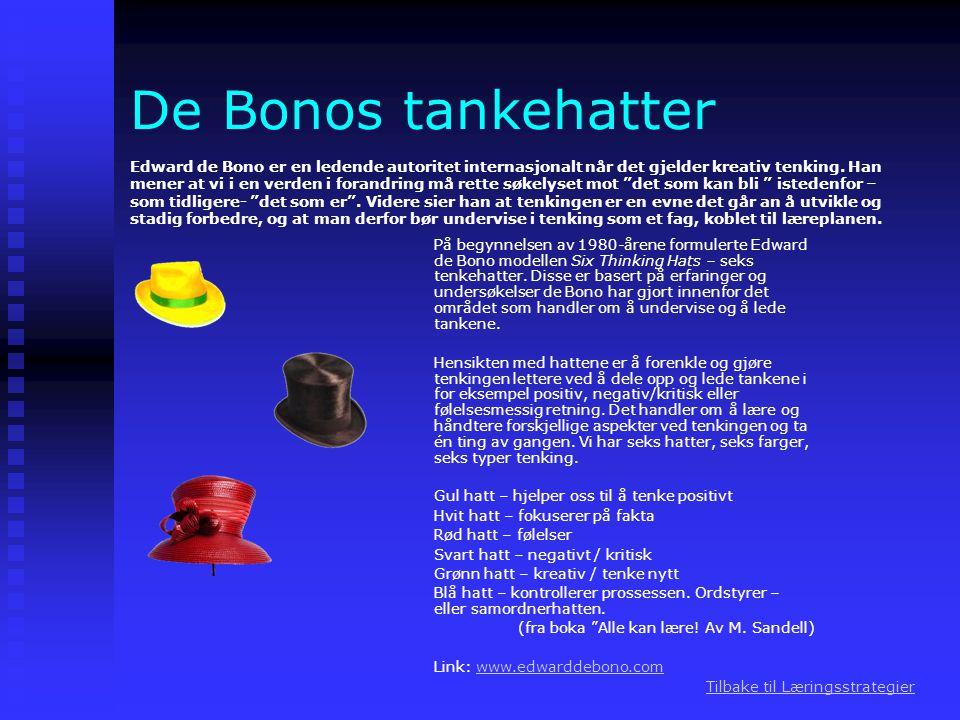 De Bonos tankehatter På begynnelsen av 1980-årene formulerte Edward de Bono modellen Six Thinking Hats – seks tenkehatter. Disse er basert på erfaring