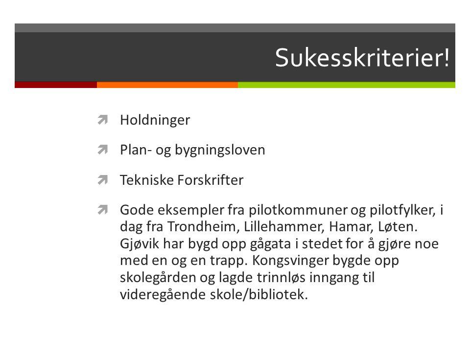 Sukesskriterier!  Holdninger  Plan- og bygningsloven  Tekniske Forskrifter  Gode eksempler fra pilotkommuner og pilotfylker, i dag fra Trondheim,