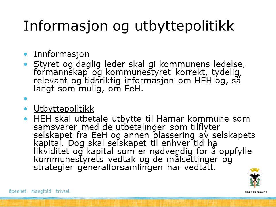 Styrking av eierandel i EeH og samarbeid med øvrige aksjonærer i EeH Fusjonsavtalene gir åpning for at Hamar kommune kan øke sin eierandel i EeH.